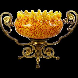 Brides Basket Centerpiece Bowl Gilt Brass Stand Frit Glass Bowl w/ Crimped Rim