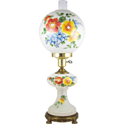 "Hand Painted 25"" GWTW Satin Glass Electric Lamp w/ Night Light Victorian Style Gone with The Wind"