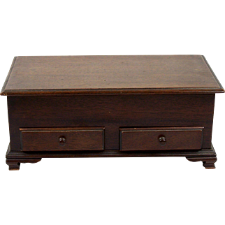 Miniature Mahogany Blanket Chest Chippendale Style Bench-made 2 Drawer Doll Size