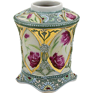 """Nippon Moriage Vase Hand Painted Red Roses Blue Yellow Red Raised Enamel 5"""""""