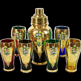 Cocktail Shaker Decanter 6 Glasses Enameled Flowers Bohemian Czech Glass