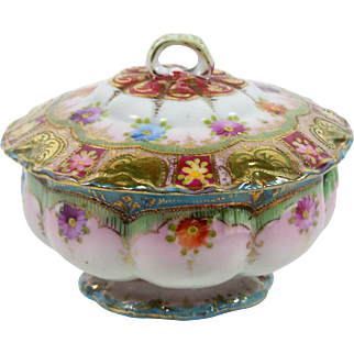 Hand Painted Trinket Box Jar Floral Footed Covered Dish Gold Bead Moriage