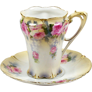 RS Prussia Chocolate or Demitasse Tea Cup Pink Roses Scalloped Rim