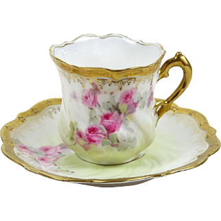 Miniature RS Prussia Tea Cup Pink Roses Gold Embossed Scalloped Rim 2 oz