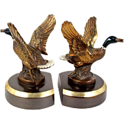 """Bronze Duck Bookends Painted Head and Tail Feathers Mallard Ducks Small 5 1/2"""""""