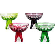 Colored Cut Cordial Glasses Set of 4 Mixed Color Hobstar Pineapple Aperitif Liqueur