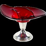 Ruby Glass Divided Bonbon Candy Dish Sterling Pedestal Bailey Banks & Biddle