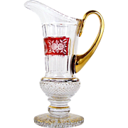 Bohemian Glass Pitcher Red Flash Cut to Clear Band Pedestal Foot Gold Trim