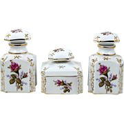 Porcelain Perfume Bottles & Powder Jar 3 Pce Set Hand Painted Roses Vanity Dresser