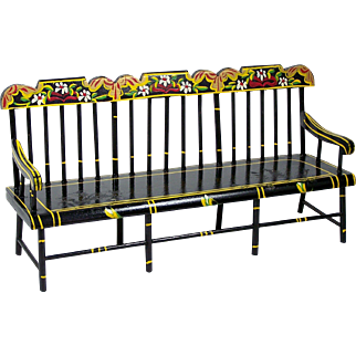 PA Dutch Miniature Settee Deacon's Bench Hand Painted Flowers Ca 1950's