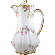 Antique Theodore Haviland Chocolate Pot Limoges France Pink Roses Gold Accents 1893+