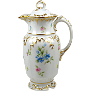 Limoges Chocolate Pot Hand Painted Flowers w/ Pink Roses Heavily Gilded