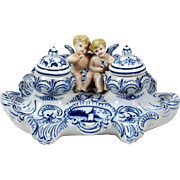 Antique Figural Porcelain Inkwell Desk Set Delft Style Angels Cherubs w/ Urns
