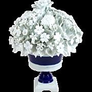 "Porcelain Floral Centerpiece Capodimonte Style Blue & White Urn 10 1/2"""