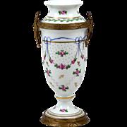 "Porcelain Vase Hand Decorative Brass Mounts Painted Floral Pink Roses 6"""