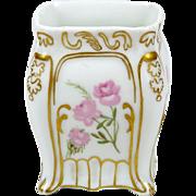 Antique Haviland Miniature Vase Hand Painted Floral Pink Roses Square Shape 1891