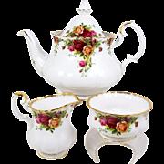 Royal Albert Teapot Set Old Country Roses Creamer & Sugar First Mark Before 1962