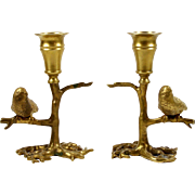 "Petite Brass Candle Holders Sticks Tree Form w/ Bird on Branch 5 1/4"""