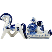 Vintage Russian Figurine Gzhel Horse Drawn Sleigh Blue & White 1972-1986