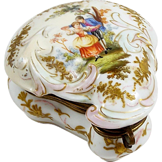 Vintage Trinket Ring Box Dresden Germany Hand Colored Watteau Courting Scene