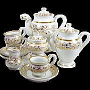 Antique Old Paris Teapot Tea Set 2 Figural Spout Pots Cream Sugar w/ 3 Tea Cups