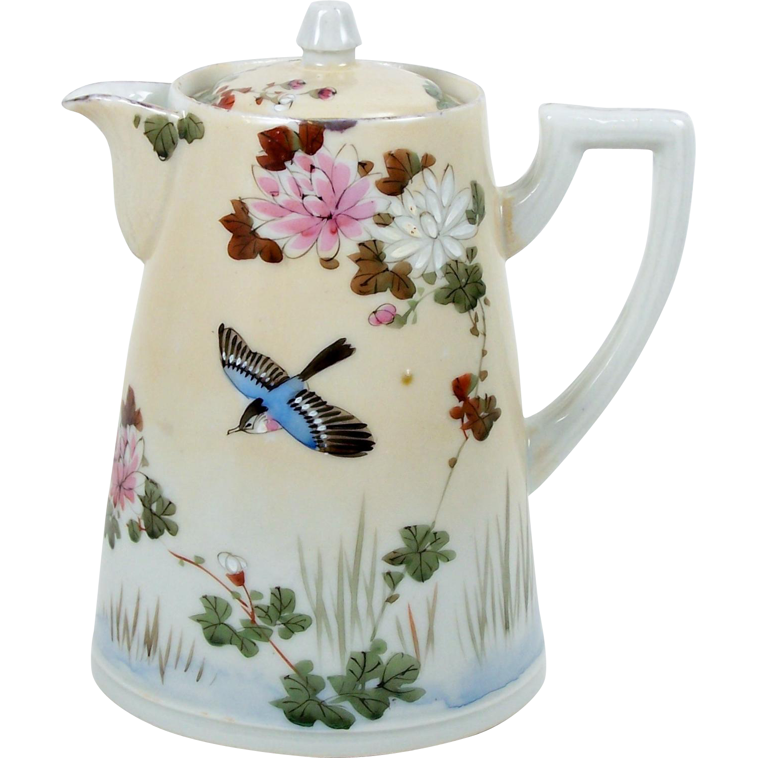 Antique Chocolate Pot Hand Painted Birds and Flowers Small 24 oz Signed
