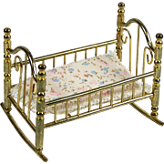 Vintage Brass Doll Cradle for Miniature Baby Doll or Dollhouse