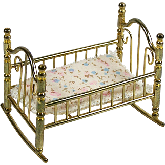 """Vintage Brass Baby Doll Cradle for Miniature Doll or Dollhouse 3 1/2"""" L x 2 1/4"""""""