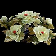 "Vintage Floral Centerpiece Hardstone Faux Jade Tree Flowers 14"" Freestanding"