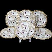 Antique Haviland Limoges Oyster Plates Set of 6 Gold Foliate Borders & Trim