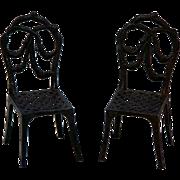 Antique Metal Dollhouse Chairs Miniature Ribbon Back Mesh Seats Circa 1900-1920