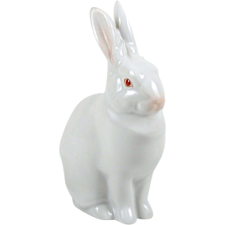 "Vintage Herend White Rabbit Figurine 5 1/2"" Seated Single Rabbit Hare"