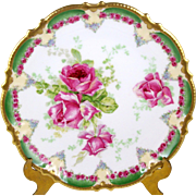Antique Coronet Limoges Plate Pink Roses Green Border Tiny Floral Swags Heavy Gold Trim