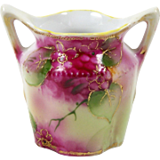 """Antique Nippon Miniature Vase Hand Painted Pink Flowers Double Handle 2 1/2"""""""