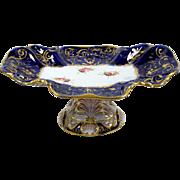 Antique Sweet Meat Dish Pedestal Centerpiece Hand Painted Flowers & Scrolls