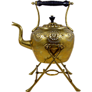 Brass Teapot with Tilt Stand 7 Cup Embossed Floral Decoration Stationary Handle