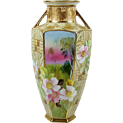 Antique Noritake Nippon Vase Hand Painted Pink Flowers Double Handle Gold Trim