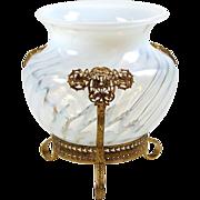 "Vintage Opalescent Vase Footed Art Glass Ormolu Mount White Swirl Pattern 6"""