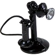 Vintage Dollhouse Candlestick Telephone Painted Metal Phone