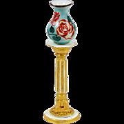 Vintage Dollhouse Porcelain Vase Floral with Gold Decorated Metal Pedestal Stand