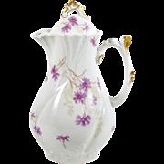 Antique Limoges Chocolate Pot Purple Flowers Ornate Gold Trim & Handle 40oz