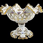 Antique Bowl Footed Pedestal Tazza Floral KPM Krister Porcelain Center Bowl