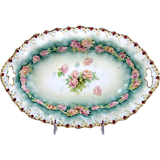 Antique Oval Porcelain Bowl Pink Roses Scalloped Rim RS Prussia Style Decoration