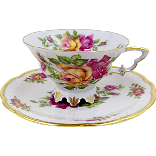 Vintage Tea Cup Pink & Yellow Roses Ornate Petal Form Foot 1918+ Mitterteich Germany