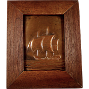 Vintage Copper Relief Sailboat Nautical Art in Walnut Frame 9 x 11 Wall Hanging