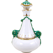 Tall Porcelain Perfume Scent Bottle Decorative Green Handles & Stopper Detailed Accents