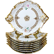 """Vintage Limoges 7"""" Dessert Salad Plates Hand Painted Roses Rococo Style Set of 8"""