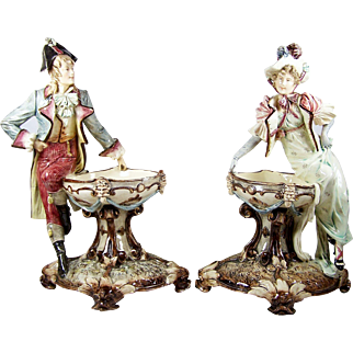 """Antique Majolica Figural Tazza Pair Dolphin Footed Pedestal Bowl w/ Figure 17 3/4"""""""