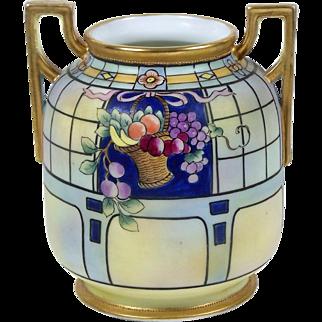 Antique Noritake Nippon Vase Hand Painted Fruit Basket Matte Finish Gold Trim
