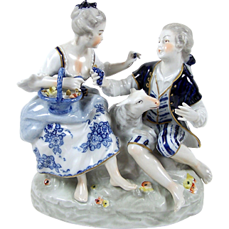 Vintage Hand Painted Figurine Courting Scene Capodimonte Style Crown Mark